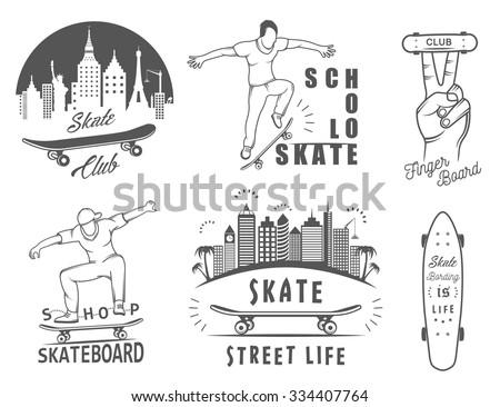 set of skateboarding logo
