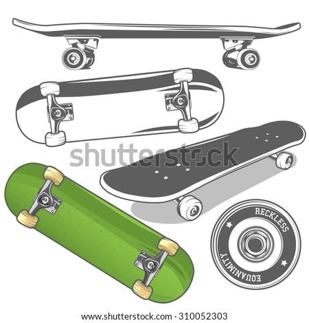 Set of skateboards from different angles + detailed skateboard wheel. Vector illustration