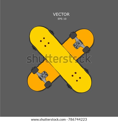 set of skateboards vector