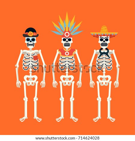 set of skeletons wearing