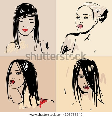 Set of sketch Beautiful girls. Hand drawn vector illustration.