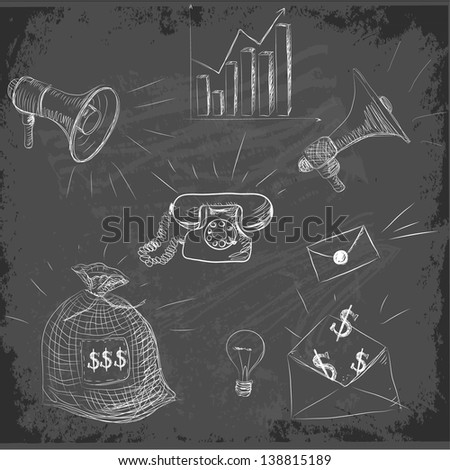 Set of sketch business design elements on chalkboard blackboard . Vector illustration