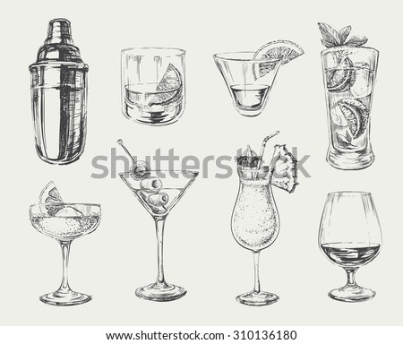 set of sketch cocktails and