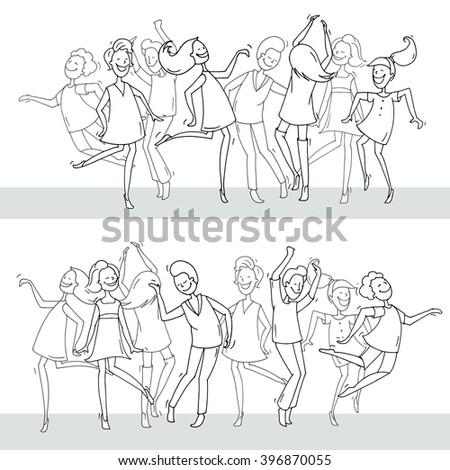 set of sketch dancing people in