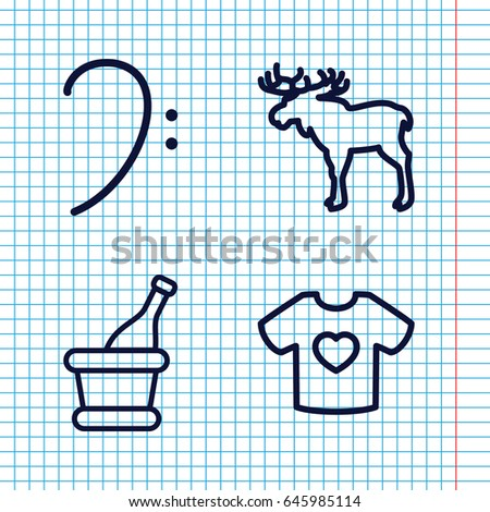 set of 4 sketch outline icons