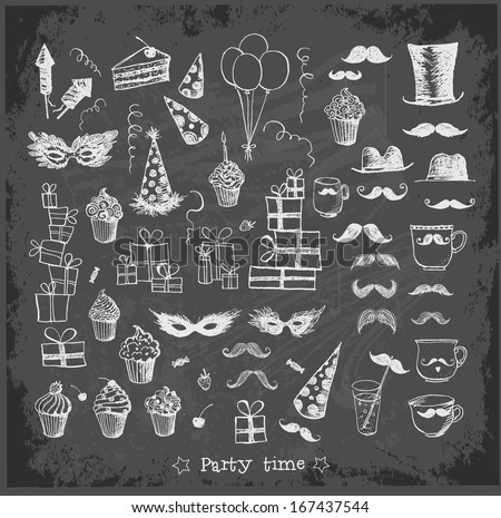 Set of sketch party objects hand-drawn on blackboard background Vector illustration