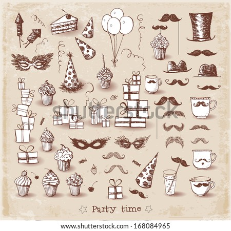 Set of sketch party objects hand-drawn with ink in vintage style Vector illustration
