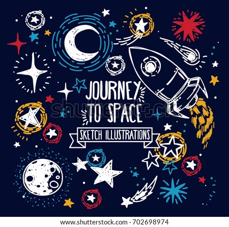 Set of sketch stars, rocket, comets and planets, can be used for party or for space exploration program, vector illustration