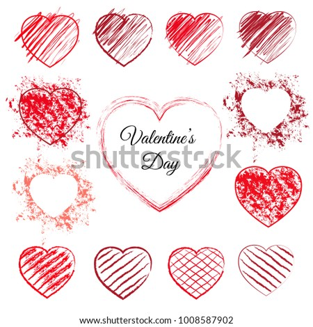 set of sketched red hearts 13