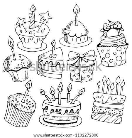 Set of sketches baking, birthday cakes, desserts, black and white on white background, hand drawing style, vector illustration