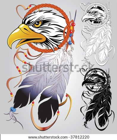 stock vector : Set of sketches for tattoos and design on an American Indian