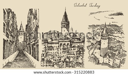set of sketches of galata tower