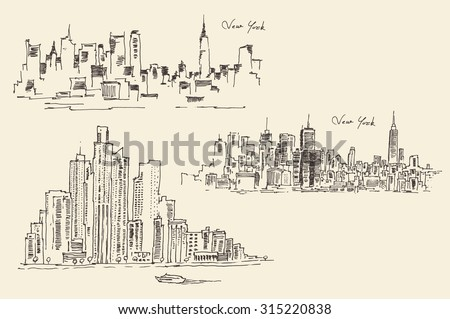 set of sketches of new york ...