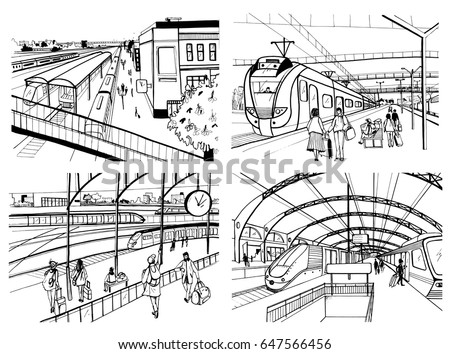 set of sketches with railway