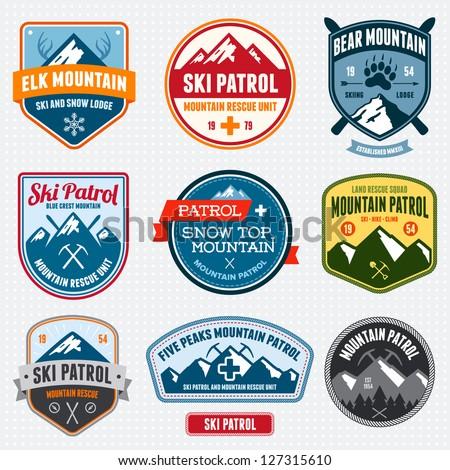 set of ski patrol mountain