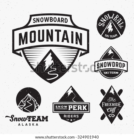 set of ski snowboard snow