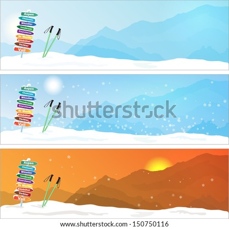 set of ski trip banners  with