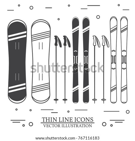 Set of skiing equipment silhouette icons. Set include snowboard, skis and ski poles . Winter equipment icons for family vacation, activity or travel. For logo design, patches, seal, logo or badges