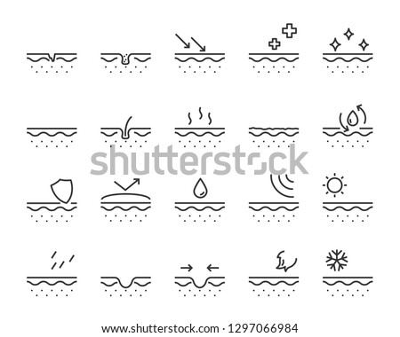 set of skincare line icons, protect skin, clean, skin, moisture