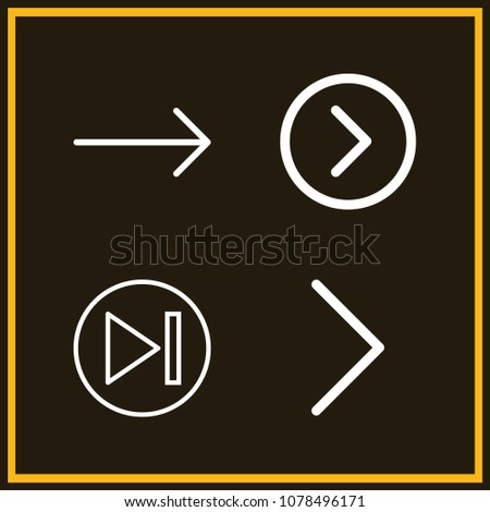 Set of 4 skip outline icons such as right arrow