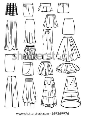 set of skirts isolated on white
