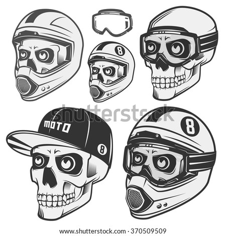 set of skull helm biker and
