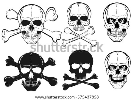 set of skull with bones  black