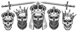 Set of skulls in the crowns. Vector illustraiton