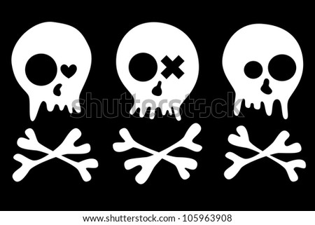 Set of skulls isolated on black background. EPS 8 vector illustration. Each element is isolated on a separate layer.