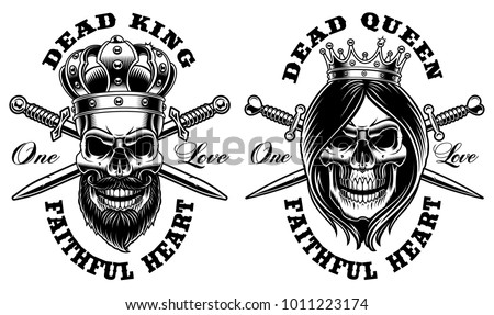Set of skulls king and queen. Vector illustration, shirt design. All elements, text are on the separate group.