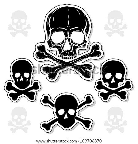 Set of Skulls with Crossbones isolated over white background. Vector illustration.