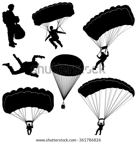 set of skydivers  parachuting