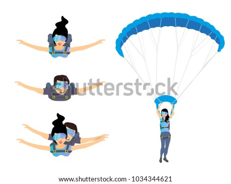 set of skydivers parachutist