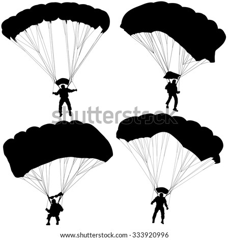 Set of skydivers, silhouettes parachuting vector illustration