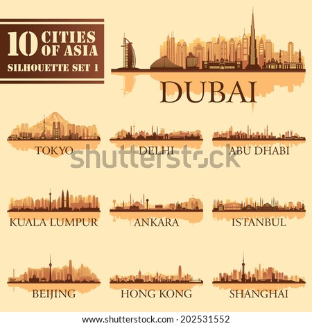 Set of skyline cities silhouettes 10 cities of Asia 1 Vector illustration