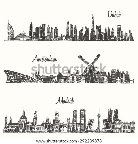 set of skylines  dubai  madrid