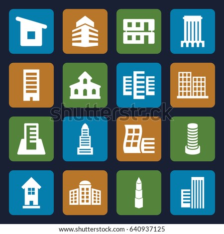 Set of 16 skyscraper filled icons such as building, modern curved building