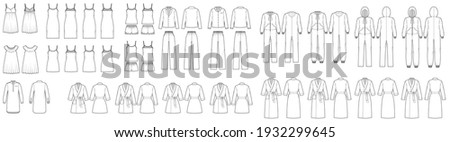 Set of Sleepwear Pajamas overall dresses, pants, bathrobe, chemise, nightshirt technical fashion illustration with full knee mini length. Flat front back, white color. Women, men unisex CAD mockup