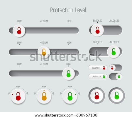 set of sliders, buttons and switches. Template for a white interface with padlocks for different levels of protection of information and passwords. Vector illustration
