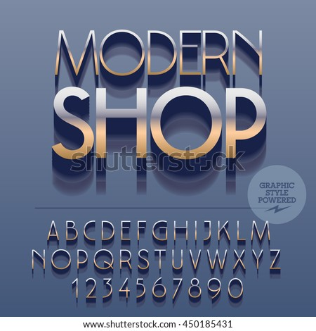 Set of slim glossy silver alphabet letters, numbers and punctuation symbols. Vector reflective fashionable logotype with text Modern shop. File contains graphic styles
