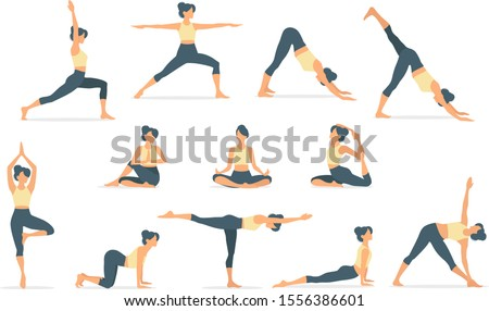 Set of slim sportive young woman doing yoga & fitness exercises. Healthy lifestyle. Collection of female cartoon characters demonstrating various yoga positions isolated on white background - Vector