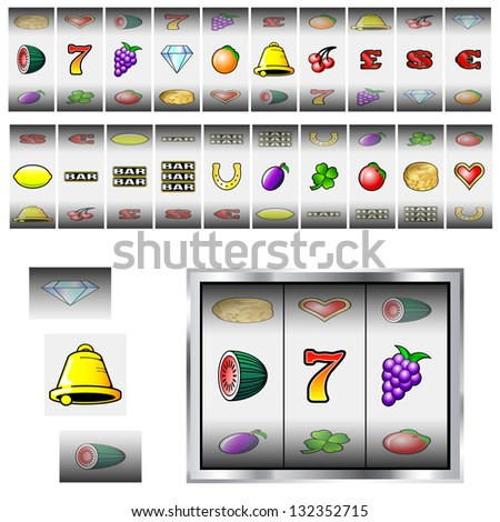 Set of slot machine fruit reel vectors