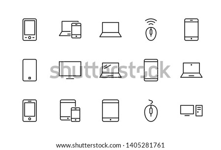 Set of smart devices and gadgets, computer equipment and electronics. Electronic devices icons for web and mobile vector line Free icon. Editable Stroke. 32x32 pixels.