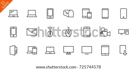 Set of smart devices and gadgets, computer equipment and electronics. Electronic devices icons for web and mobile vector line icon. Editable move.