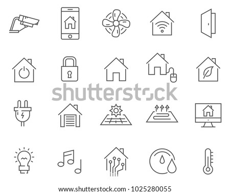 Set of smart home line vector icons. Outline style