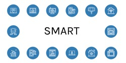 Set of smart icons such as Laptop, Home control, Mobile payment, Selfie stick, Domotics, City, Payment method, Photo, Home automation, Drawing tablet, AI, Ebook , smart