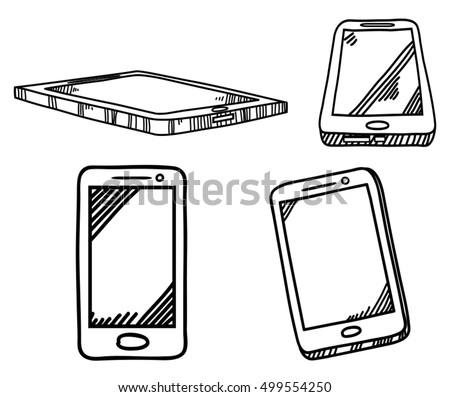 set of smart phone design with hand drawn sketch