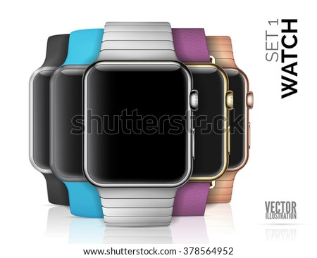 set of smart watch isolated on