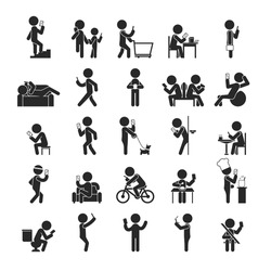Set of Smartphone addiction , Human pictogram Icons , eps10 vector format