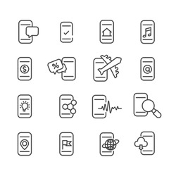 Set of  Smartphone function icon. Mobile symbol isolated on white background